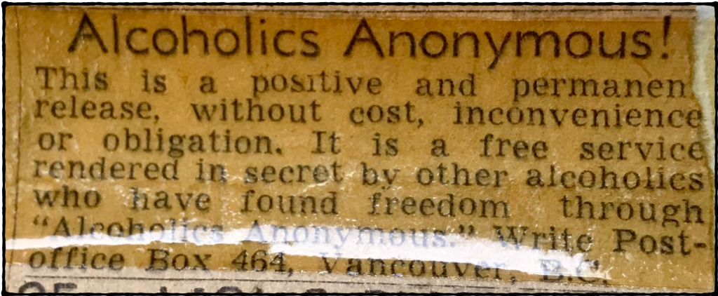 A.A. ADVERTISEMENT PLACED IN THE VANCOUVER SUN AND PROVINCE 1944